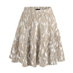 Brown Ombre Feather Pattern, White, High Waist Skirt