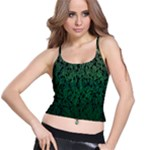Green Ombre Feather Pattern, Black, Spaghetti Strap Bra Top