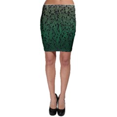 Green Ombre Feather Pattern, Black, Bodycon Skirt by Zandiepants