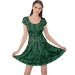 Green Ombre Feather Pattern, Black, Cap Sleeve Dresses