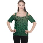 Green Ombre Feather Pattern, Black, Women s Cutout Shoulder Tee