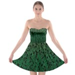 Green Ombre Feather Pattern, Black, Strapless Dresses