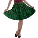 Green Ombre Feather Pattern, Black, A-line Skater Skirt