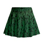 Green Ombre Feather Pattern, Black, Mini Flare Skirt