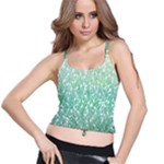 Green Ombre Feather Pattern, White, Spaghetti Strap Bra Top