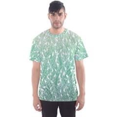 Green Ombre Feather Pattern, White, Men s Sport Mesh Tee by Zandiepants
