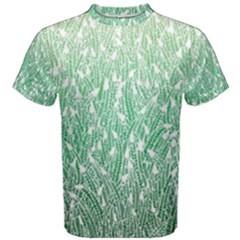 Green Ombre Feather Pattern, White, Men s Cotton Tee by Zandiepants