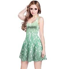 Green Ombre Feather Pattern, White, Reversible Sleeveless Dress by Zandiepants