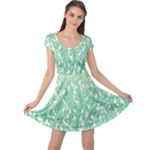 Green Ombre Feather Pattern, White, Cap Sleeve Dresses