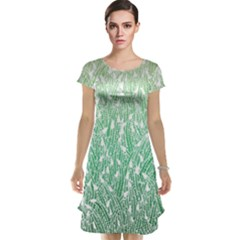 Green Ombre Feather Pattern, White, Cap Sleeve Nightdress by Zandiepants