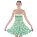 Green Ombre Feather Pattern, White, Strapless Dresses