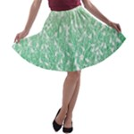 Green Ombre Feather Pattern, White, A-line Skater Skirt