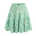 Green Ombre Feather Pattern, White, High Waist Skirt