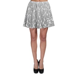 Grey Ombre Feather Pattern, White, Skater Skirt by Zandiepants