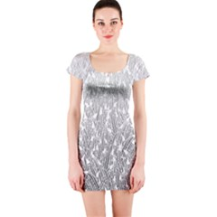 Grey Ombre Feather Pattern, White, Short Sleeve Bodycon Dress by Zandiepants