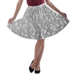 Grey Ombre Feather Pattern, White, A-line Skater Skirt