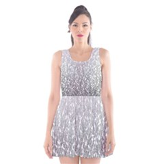 Grey Ombre Feather Pattern, White, Scoop Neck Skater Dress by Zandiepants