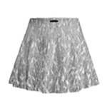 Grey Ombre Feather Pattern, White, Mini Flare Skirt
