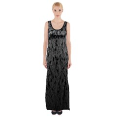 Grey Ombre Feather Pattern, Black, Maxi Thigh Split Dress by Zandiepants