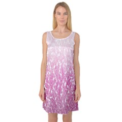 Pink Ombre Feather Pattern, White, Sleeveless Satin Nightdress by Zandiepants