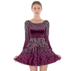 Pink Ombre Feather Pattern, Black, Long Sleeve Skater Dress by Zandiepants