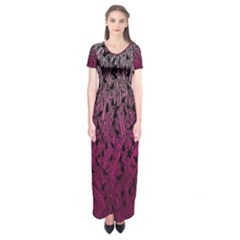 Pink Ombre Feather Pattern, Black, Short Sleeve Maxi Dress by Zandiepants