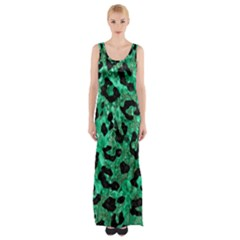 Skin5 Black Marble & Green Marble Maxi Thigh Split Dress by trendistuff