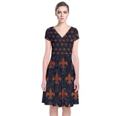 Royal1 Black Marble & Brown Burl Wood (r) Short Sleeve Front Wrap Dress by trendistuff