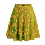 Yellow Green Abstract Wheel Of Fire High Waist Skirt