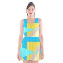 Blue Yellow Shapes                                                        Scoop Neck Skater Dress by LalyLauraFLM