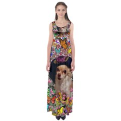 Chi Chi In Butterflies, Chihuahua Dog In Cute Hat Empire Waist Maxi Dress by DianeClancy
