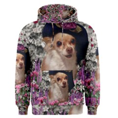 Chi Chi In Flowers, Chihuahua Puppy In Cute Hat Men s Pullover Hoodie by DianeClancy