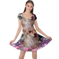 Chi Chi In Flowers, Chihuahua Puppy In Cute Hat Cap Sleeve Dresses by DianeClancy