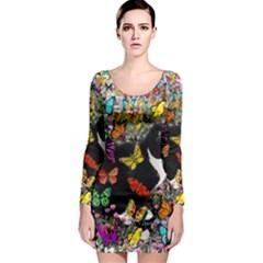 Freckles In Butterflies I, Black White Tux Cat Long Sleeve Bodycon Dress by DianeClancy