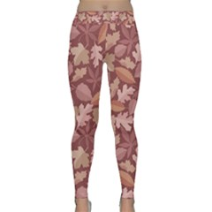 Marsala Leaves Pattern Yoga Leggings
