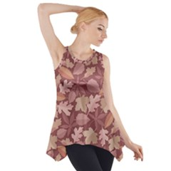 Marsala Leaves Pattern Side Drop Tank Tunic by sifis