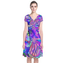 Psychedelic Butterfly Short Sleeve Front Wrap Dress