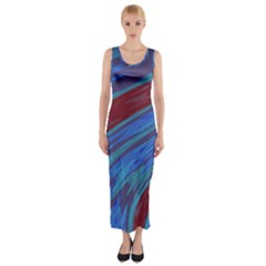 Swish Blue Red Abstract Fitted Maxi Dress by BrightVibesDesign