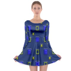 3d Rectangles                                                                      Long Sleeve Skater Dress by LalyLauraFLM