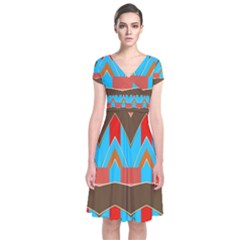 Blue Brown Chevrons                                      Short Sleeve Front Wrap Dress by LalyLauraFLM