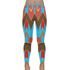 Blue Brown Chevrons                                                                       Yoga Leggings by LalyLauraFLM
