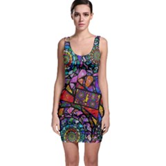 Fractal Stained Glass Sleeveless Bodycon Dress by WolfepawFractals