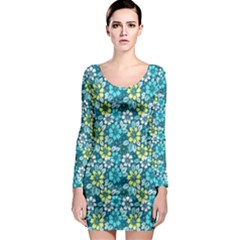 Tropical Flowers Menthol Color Long Sleeve Bodycon Dress by olgart