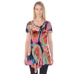 Painted Pastel Roses Short Sleeve Tunic  by LisaGuenDesign