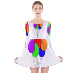 Colorful Balloons Long Sleeve Velvet Skater Dress by Valentinaart