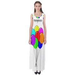 Colorful Balloons Empire Waist Maxi Dress by Valentinaart