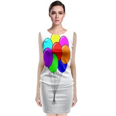 Colorful Balloons Classic Sleeveless Midi Dress by Valentinaart