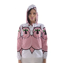 Pink Rhino Hooded Wind Breaker (women) by Valentinaart