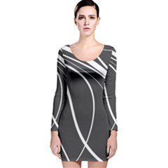 Black And White Elegant Design Long Sleeve Velvet Bodycon Dress by Valentinaart