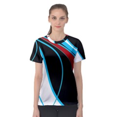 Blue, Red, Black And White Design Women s Sport Mesh Tee by Valentinaart